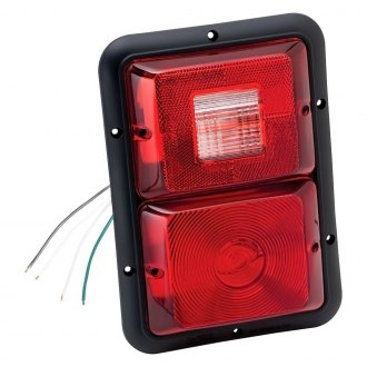 Bargman® - 84 Series Red Recessed Double Vertical Tail Light with Black Base