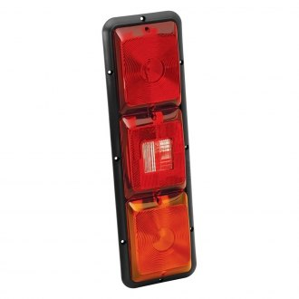 Bargman® - 84 Series Amber Recessed Triple Vertical Long Tail Light with Back-Up and Black Base