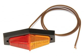 Bargman® - 40 Series Red/Amber Fender Mount Clearance Light with Lexan Black Base and Screws