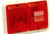 Bargman® - 84 Series Recessed Double Red Horizontal Tail Light with Backup and Colonial White Base