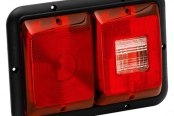 Bargman® - 84 Series Recessed Double Red Horizontal Tail Light with Backup and Black Base