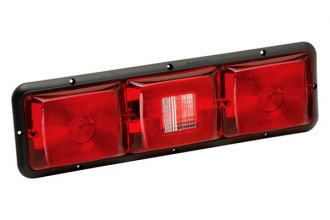 Bargman® - 84 Series Recessed Triple Horizontal Long Tail Light with Backup and Black Base