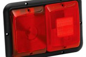 Bargman® - 84 Series Recessed Double Red Horizontal Tail Light with Red Insert and Black Base