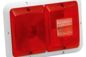 Bargman® - 84 Series Recessed Double Red Horizontal Tail Light with Backup and White Base