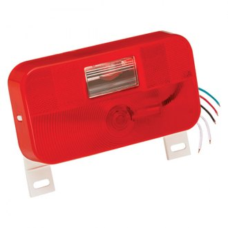 Bargman® - 92 Series Red Tail Light with Backup and License Bracket and White Base