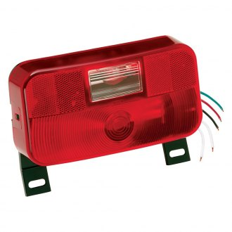 Bargman® - 92 Series Red Tail Light with Backup and License Bracket and Black Base