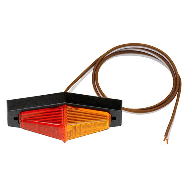 Bargman® - 40 Series Red / Amber Fender Mount Clearance Light with Lexan Black Base and Screws