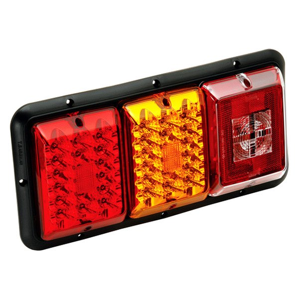 Bargman® - 84 / 85 Series LED Red / Amber Triple Tail Light with Incandescent Backup and Black Base