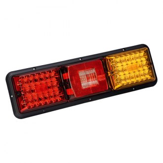 Bargman® - 84 / 85 Series LED Red / Amber Triple Long Tail Light with Incandescent Backup and Black Base
