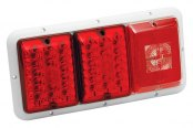Bargman® - 84 / 85 Series LED Red Triple Tail Light with Incandescent Backup and White Base