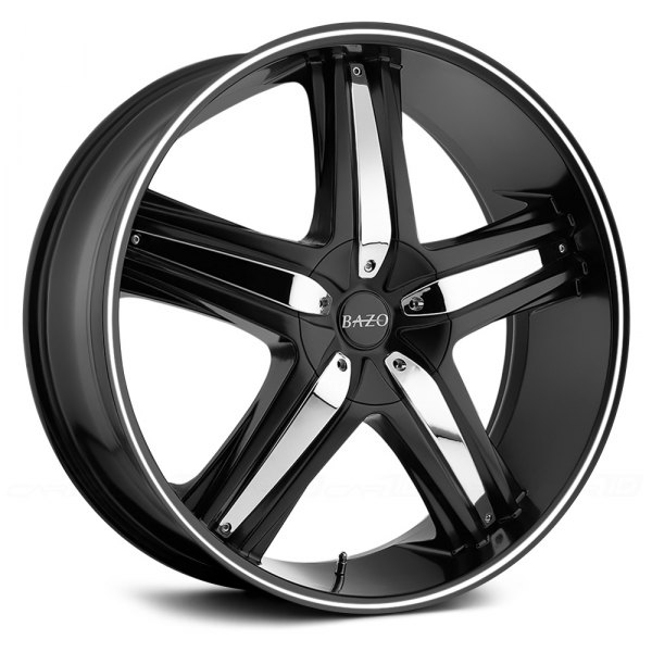 BAZO® - B501 Satin Black with Machined Groove and Chrome Inserts Wheel