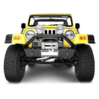 Bestop® - HighRock 4x4™ Narrow-Profile Stubby Black Front Winch HD Bumper