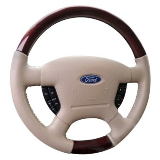 B&I® - Premium Design Tan Leather Steering Wheel with Natural Birdseye Grip