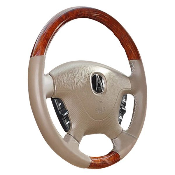 Image may not reflect your exact vehicle or part! B&I® - Premium Design Steering Wheel ( Charcoal Black Leather and Factory Match Brown - OEM Grip )