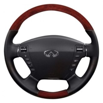 B&I® - Premium Design Black Leather Steering Wheel with Avalon Burlwood Grip