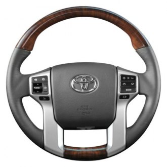 B&I® - Premium Design Charcoal Black Leather Steering Wheel with Avalon Burlwood Grip