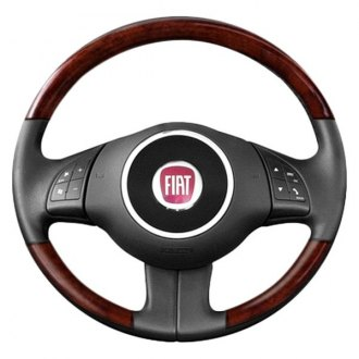 B&I® - Premium Design Charcoal Black Leather Steering Wheel with Matted Mahogany Grip