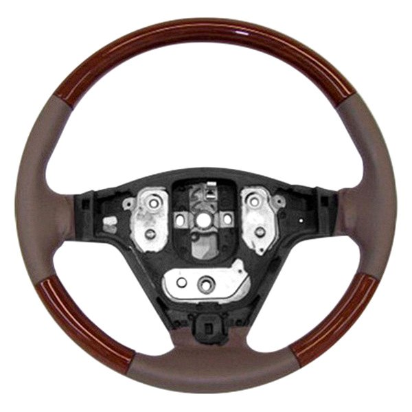 Image may not reflect your exact vehicle! B&I® - Premium Design Steering Wheel ( Charcoal Black Leather and Factory Match Walnut-OEM Grip )