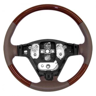 Image may not reflect your exact vehicle! B&I® - Premium Design Steering Wheel ( Charcoal Black Leather and Factory Match Walnut - OEM Grip )