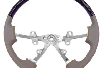 B&I® - Steering Wheel with Platinum Silver Inserts and Dark Grey Leather