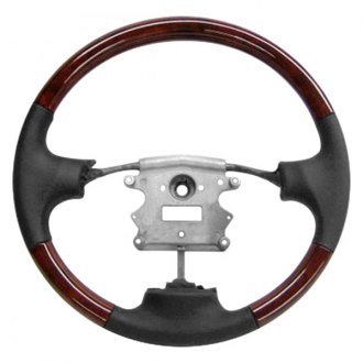 B&I® - Premium Design 3 Spokes Steering Wheel (Graphite Leather and Natural Birdseye Grip)