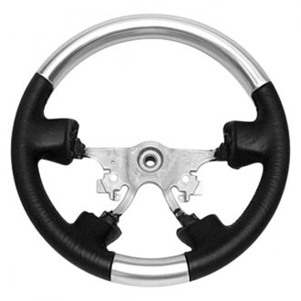 B&I® - Premium Design Steering Wheel (Charcoal Black Leather and Platinum Silver Grip)