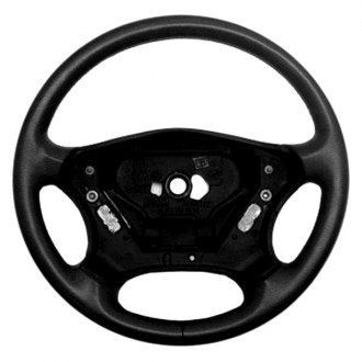 B&I® - Premium Design 4 Spokes Steering Wheel (Charcoal Black Leather and Platinum Silver Grip)