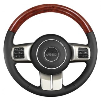 B&I® - Premium Design Steering Wheel (Charcoal Black Leather and Factory Match Cherokee Dark-OEM Woodgrain on Top)