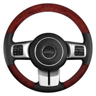B&I® - Premium Design Steering Wheel (Charcoal Black Leather and Platinum Silver Woodgrain on Top and Bottom)