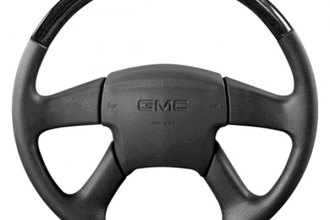 B&I® - Premium Thumb-Grip Design Steering Wheel with Platinum Silver Inserts and Black Leather