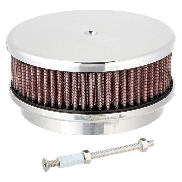 Billet Air Cleaner : Billet specialties round red aluminum polished