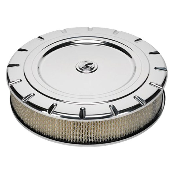 Billet Air Cleaner : Billet specialties round white aluminum polished