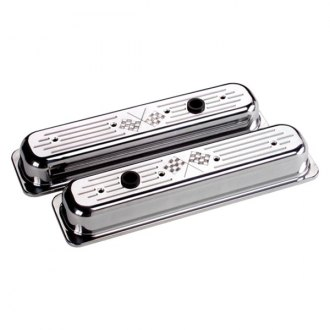 Billet Specialties® - Short Cross Flags Style Center Bolt Valve Covers