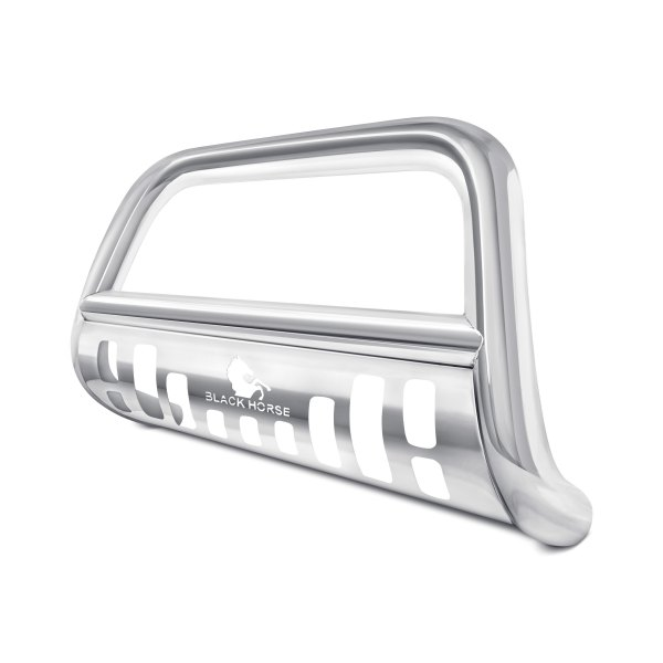 "Black Horse® - 3"" Polished Bull Bar with Polished Skid Plate"