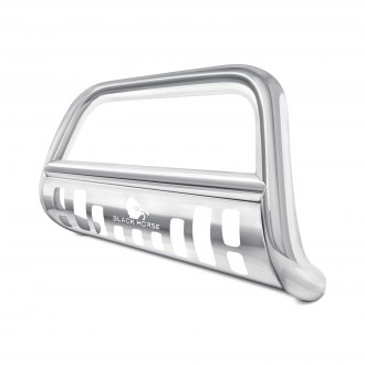 Black Horse® - Polished Stainless Steel Bull Bar with Removable Stainless Steel Skid Plate