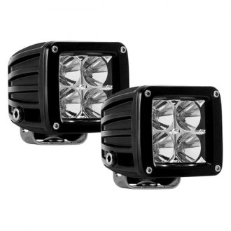 "Black Horse® - 3"" Spot/Flood Off-Road Black Powdercoat LED Dually Fog Lights with Complete Wiring Kit"