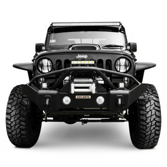 Black Mountain® - Recovery Stage II Mid Width Black Front Winch HD Bumper with Pre-Runner Guard