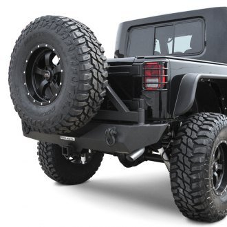 Black Mountain® - Recovery Full Width Black Rear HD Bumper with Tire Carrier