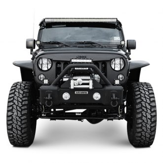 Black Mountain® - Recovery Stage I Stubby Black Front Winch HD Bumper with Hoop