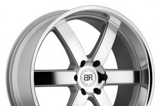 "BLACK RHINO® - PONDORA Silver with Machined Face and Lip (22"" x 9.5"", +25 Offset, 6x139.7 Bolt Pattern, 112mm Hub)"