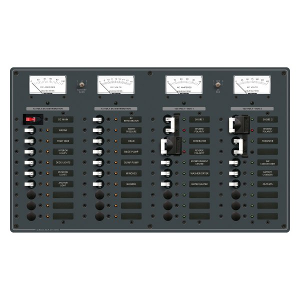 Blue Sea Systems® - 3 Sources with 12 Positions and Transfer 120VAC/Main with 19 Positions 12VDC Breaker Panel