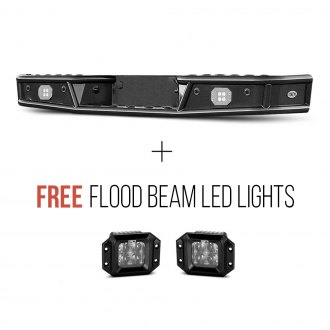 "Body Armor 4x4® - Desert Series Full Width Black Rear Pre-runner Bumper + Free 3"" Flood Beam LED Lights"