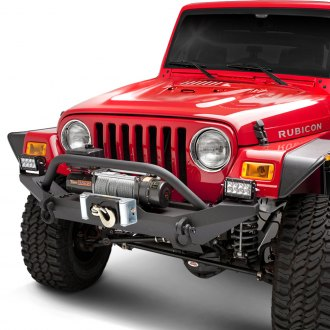 Body Armor® - Formed Full Width Black Front Winch HD Bumper with Hoop