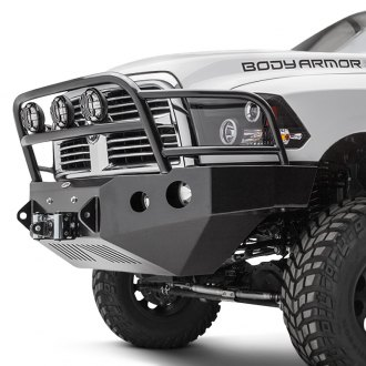 Body Armor® - PRO-Series Mid Width Black Front Winch HD Bumper with Grille Guard