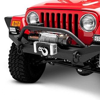 Body Armor® - Formed Mid Width Front HD Winch Bumper with Hoop