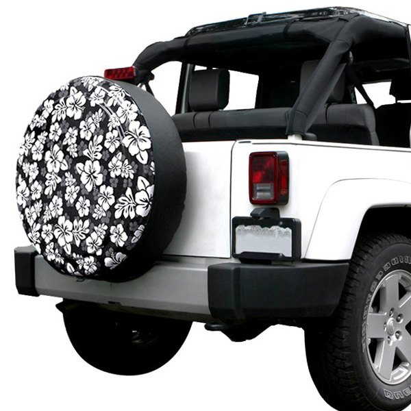 Image may not reflect your exact vehicle! Boomerang® - Rigid Series Black and White Hawaiian Print Tire Cover