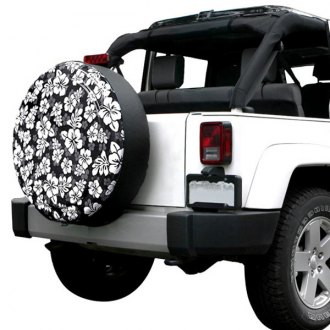 Boomerang® - Rigid Series Black and White Hawaiian Print Tire Cover (27)