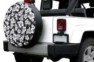 "Boomerang® - Rigid Series Black and White Hawaiian Print Tire Cover (29/30"")"