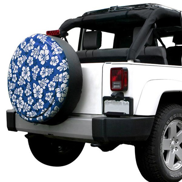 Image may not reflect your exact vehicle! Boomerang® - Rigid Series Blue and White Hawaiian Print Tire Cover