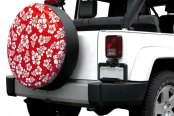 Image may not reflect your exact vehicle! Boomerang® - Rigid Series Red and White Hawaiian Print Tire Cover
